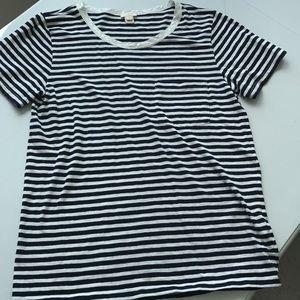 J. Crew navy/white striped cotton blend t-shirt